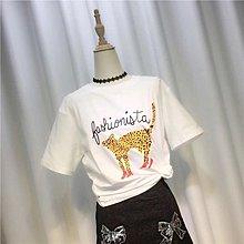 全新 韓國東大門款tee 豹公仔x高跟鞋👠圖案 短袖t恤上衣 修身衫 女裝 清貨(B)