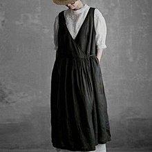 Joyce‧W~*【D2122504】☆預購☆日系。森系法式復古氣質感前後兩穿側繫帶亞麻背心裙。3色