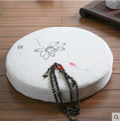 【優上】Nobildonna 亞麻刺繡禪修墊蒲團墊子榻榻米椅墊坐墊「灰藍蓮花款」