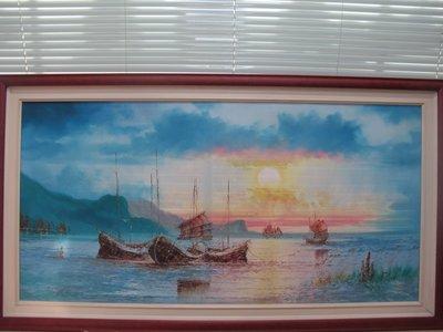 二手舖~NO.233夕陽海~油畫~~藝術畫~黃昏海景無框畫抽象畫仿油畫 再降價