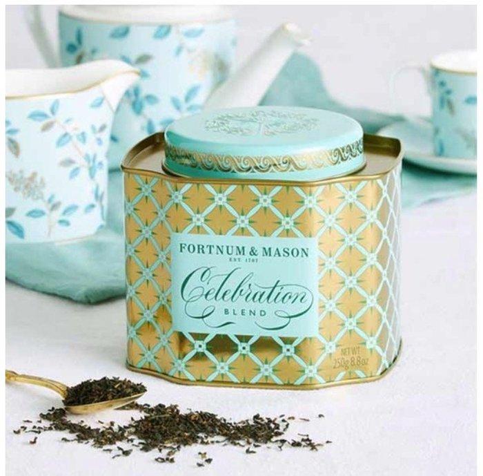 ArielWis預購英國皇室Fortnum & Mason金色tiffany藍茶葉罐Blend Tea限量紀念版250g