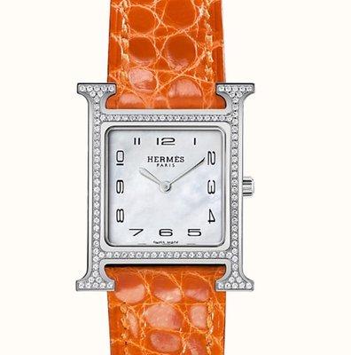 小巴黎二手名牌  滿鑽 點鑽H hour HERMES HH1.235 原鑲鑽錶 鱷魚皮 有 盒子2019購證