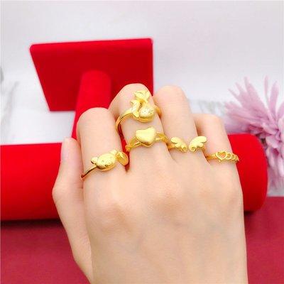 送禮佳品 仿沙金戒指女活口 久不掉色韓版鍍金戒指簡約學生仿黃金歐幣飾品