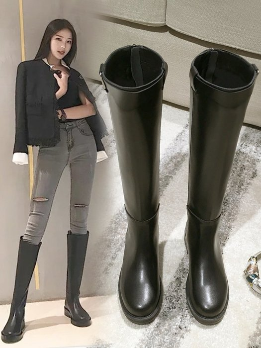 Sarah 長靴女過膝靴機車靴2018新款冬季高筒靴加絨皮靴中筒馬靴長筒靴子