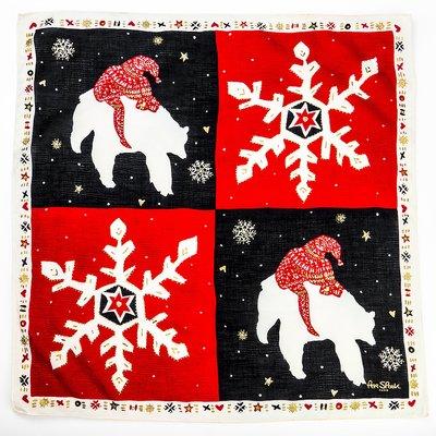 挪威設計師Per Spook的幾何圖案燙金雪花北極熊印花手帕