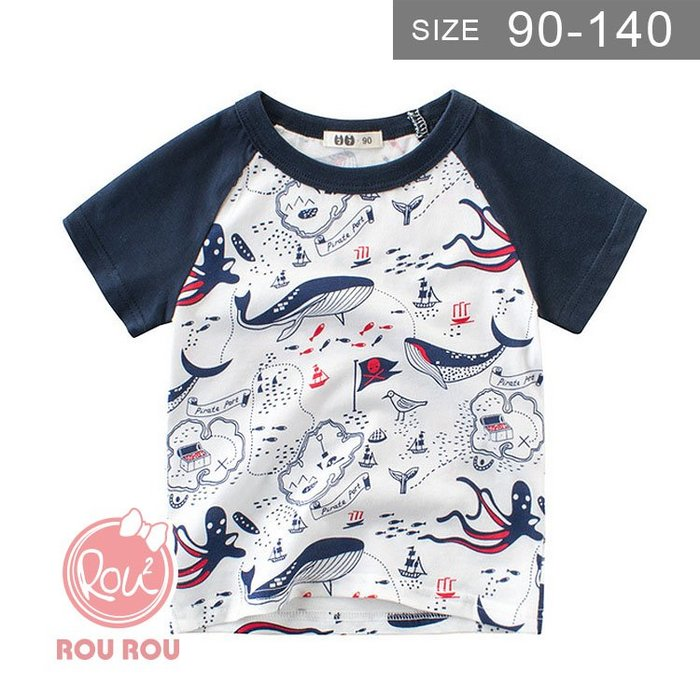 男童短袖T恤。ROUROU童裝。夏男童中小童100%棉海底世界圓領短袖T恤 0121-413