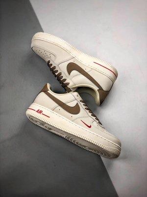 Nike Air Force 1 Low '07 奶咖啡色 皮革 低幫 休閒運動板鞋 男女鞋