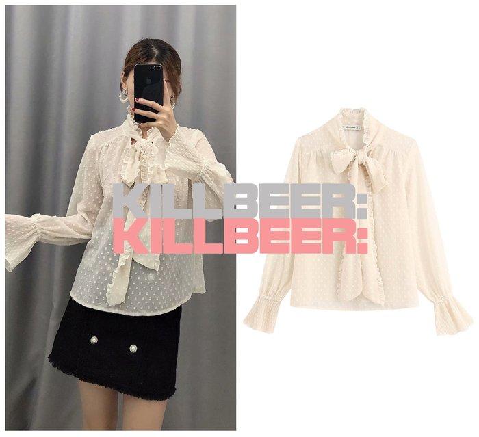 KillBeer:仙女是怎樣煉成的之 歐美復古仙氣優雅氣質立體點點裸杏透膚雪紡宮廷袖綁帶襯衫上衣010601