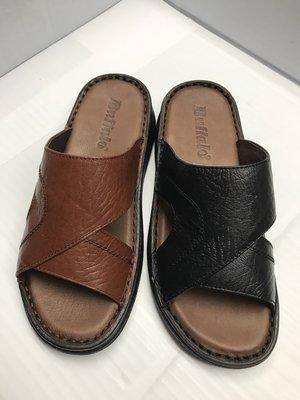 【便宜GO鞋城】MIT牛頭牌「純正牛皮」拖鞋(黑咖)/真皮柔軟舒適好穿/手工縫線《3058》