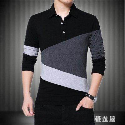 大尺碼POLO衫秋裝全棉男士薄款長袖t恤帶領撞色簡約型青年POLO衫外套 QG16657