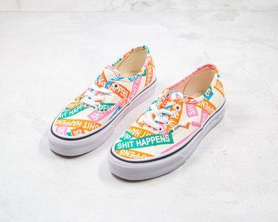 Vans SHIT Happiness 范斯經典系列Authentic彩色印字字母logo印花休閒情侶帆布滑板鞋