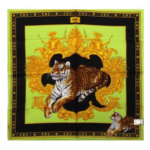 【姊只賣真貨】VERSACE 凡賽斯 古典藝術華麗老虎帕巾(蘋果綠色)