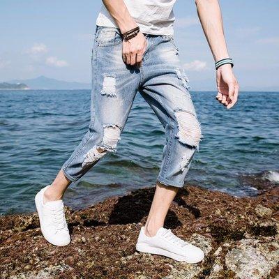 夏季薄款牛仔褲男七分褲五分褲7分褲破洞乞丐短褲男韓版修身潮流