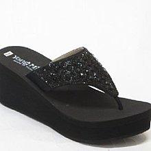 【YM319】☆.╮莎拉公主❤  MIT台灣製❤╭.☆~時尚系~鑲鑽寶石厚底楔型拖鞋(現貨+預購)