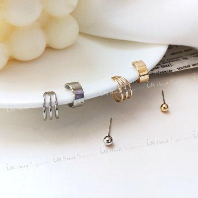 IN House*🇹🇼現貨 3件一組 韓國 冷淡風 簡約 銀針 耳環 耳骨夾 個性 耳圈 男女 耳飾 耳夾