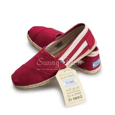 【TOMS】(女)TOMS UNIVERSITY 紅色粗條紋懶人帆布鞋-紅色 台北市