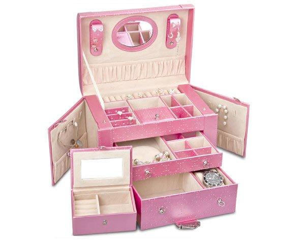 5Cgo【鴿樓】會員有優惠 25824908841 公主珠寶盒 首飾盒 大容量化妝盒 飾品收納項鍊耳環手錶盒戒指禮物情人