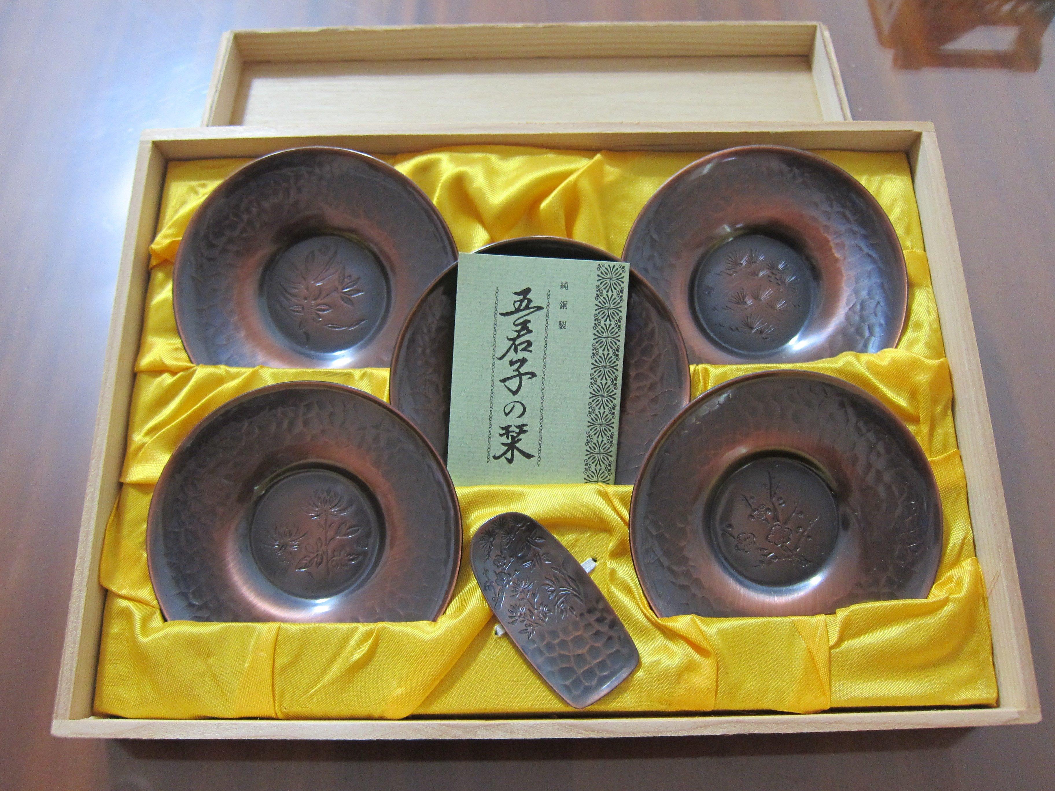 日本純銅製(非錫製)茶托、茶則、茶合