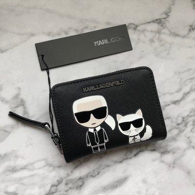美國百分百【全新真品】 Karl Lagerfeld 卡爾 老佛爺 拉鍊 短夾 皮夾 專櫃精品 配件 logo AL69