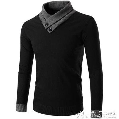 針織外套秋冬季半高領毛衣男韓版潮流長袖打底衫加厚毛線衣