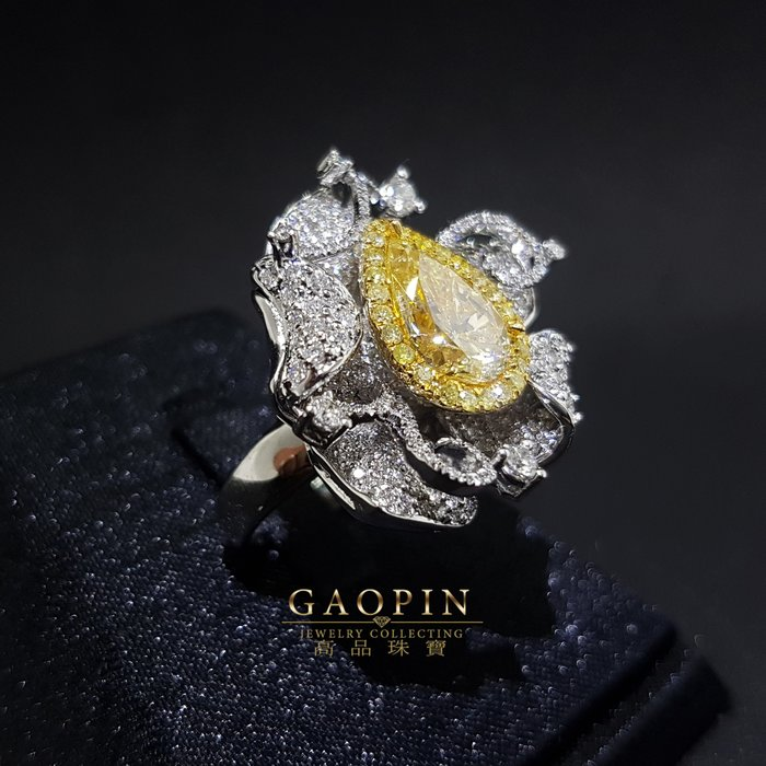 【高品珠寶】黃鑽石戒指 女戒 18K金鑽石 -A4