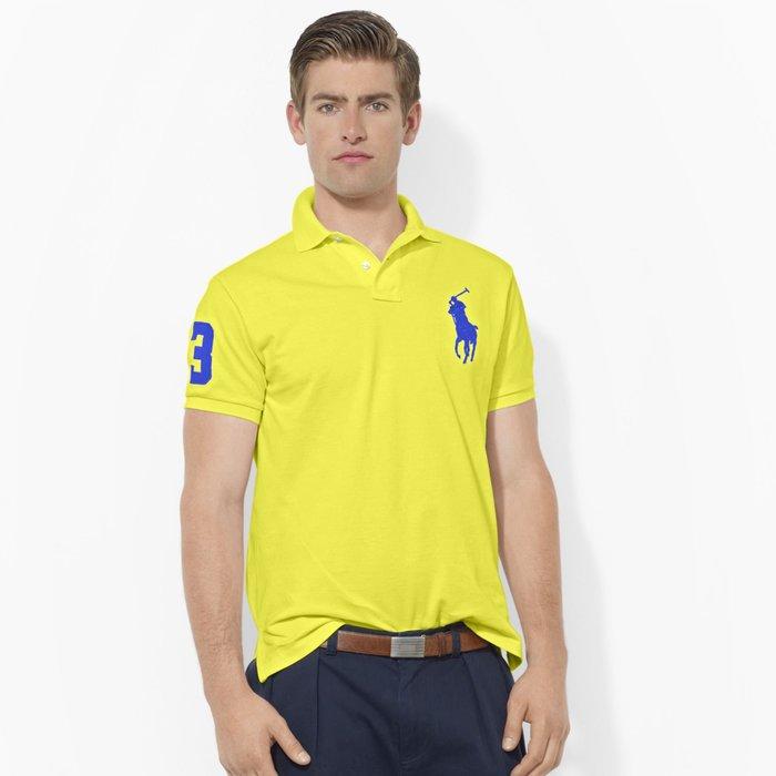美國百分百【全新真品】Ralph Lauren Polo 衫 RL 短袖 網眼 大馬 素面 亮黃 男 S號 B003
