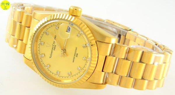 (六四三精品)范侖鐵諾(真品))自動上鍊機芯機械手錶全金色錶殼及錶帶.錶徑3.5公分!