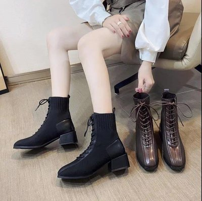 YANGS木易冬靴女咖啡色梭織彈力高跟鞋設計感小眾氣質網紅爆款馬丁靴顯腳小