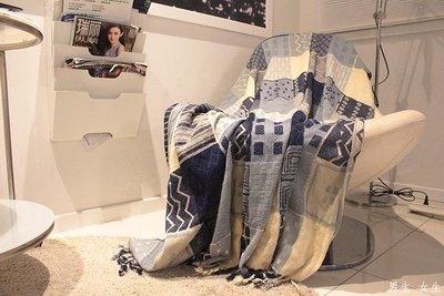 男生 女生 外貿歐美地中海藍色英倫格子萬能高檔沙發巾全蓋防滑休閑蓋毯