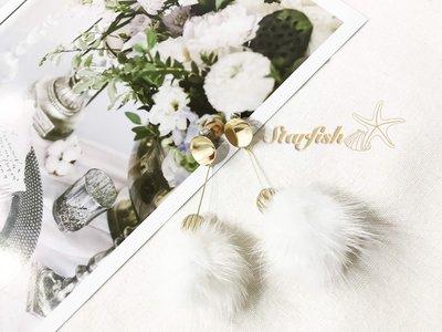 【海星 Starfish】|925銀針|冬季時尚款垂墜式白毛球耳環