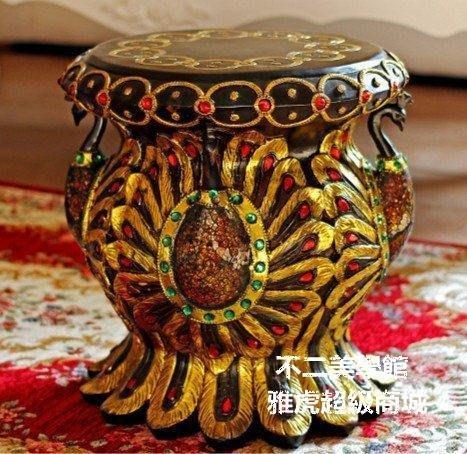 【格倫雅】^東南亞風情富貴吉祥孔雀凳子家居換鞋凳 家居實用 美觀 擺飾品35555[D