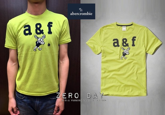 a&f abercrombie&fitch kids guys applique logo graphic tee麋鹿綠