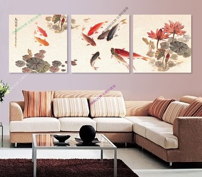 【50*50cm】【厚2.5cm】九魚圖-無框畫裝飾畫版畫客廳簡約家居餐廳臥室牆壁【280101_399】(1套價格)
