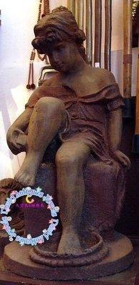 ((天堂鳥)) 歐式古董少女鑄鐵雕像