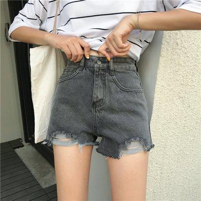 新款韓版高腰寬松熱褲原宿風破洞闊腿chic牛仔短褲女