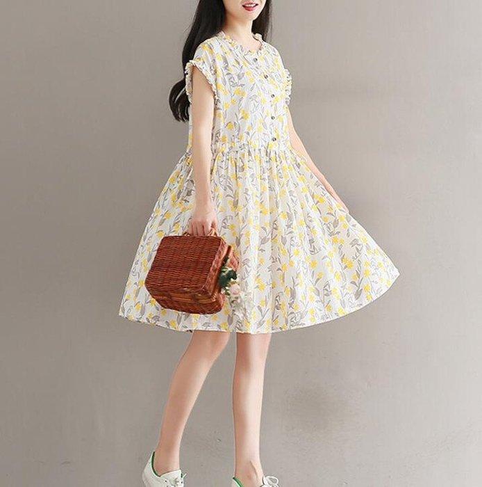 棉麻 碎花 中大尺碼 短袖 洋裝 連衣裙 ~ D9117