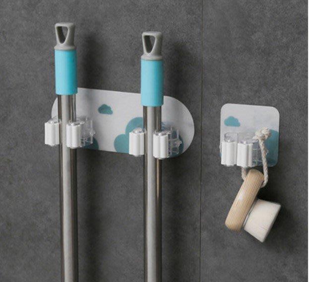 雙扣 雙夾 無痕免釘 拖把架 掃把架 滾輪夾 拖把夾 掃把夾 浴室收納 廚房 滾輪架 拖把掛勾 掛鉤