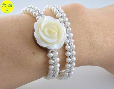 (六四三精品)范侖鐡諾(真品)天然珍珠母貝手工雕刻山茶花.雙繞天然珍珠鑽錶.銀色!