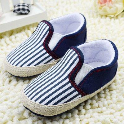 鞋鞋樂園-軟布底-時尚藍白條紋休閒鞋-學步鞋-寶寶鞋-嬰兒鞋-幼兒鞋-學走鞋-童鞋-鬆緊帶設計-坐學步車穿-彌月送禮