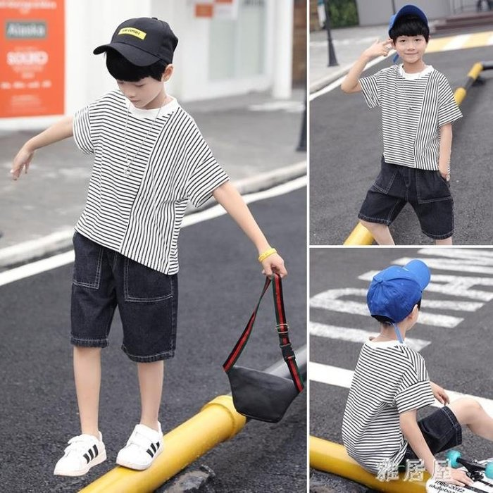男童夏裝2019新款套裝兒童夏季童裝中大童洋氣兩件套男孩帥氣潮裝 BP501YJW