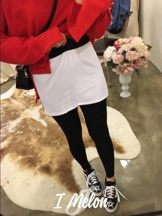 ::: i-MelOn :::100%韓國空運 正韓【現貨】假兩件襯白T感內搭褲裙※灰色