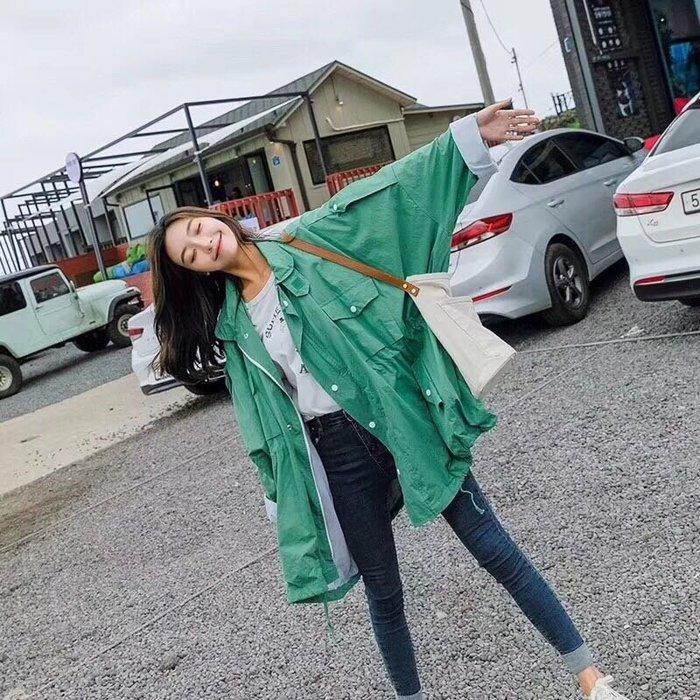 EVA精緻坊【韓國衣飾】【糖果色寬鬆中長版外套 】現貨