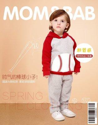 ❤大老婆小寶貝❤ 秋冬款 mom and bab 保暖刷毛棒球長袖帽T 12m-6T