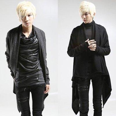 『潮范』  N3 潮男披肩 個性棉質立領外套 長款針織外套 開衫 夾克 素面針織衫NRG127