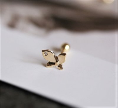 LA MIMOSA韓國正品 單顆鑽小蝴蝶耳環 金珠螺絲耳骨釘 純10K黃金 永不褪色 抗過敏可以戴著洗澡