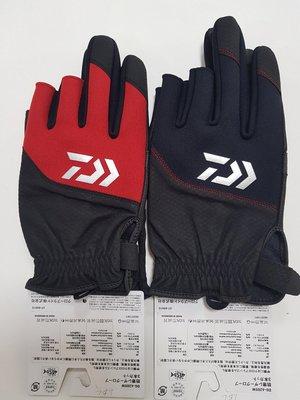出清DAIWA DG-6205W 防寒皮手套 三指釣魚手套 黑 L/XL/2XL /紅色 XL