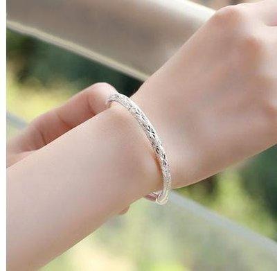足銀手鐲銀手環女開口滿天星光面貴妃時尚百搭銀飾品 萊俐亞美麗