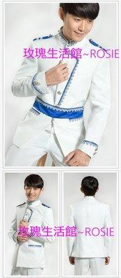 【玫瑰生活館】~ 歐式宮廷藍帶西裝皇室軍服婚服~ M, L ,XL (襯衫需加購)