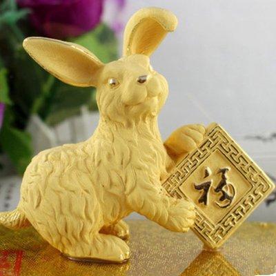 5Cgo 【批發】含稅會員有優惠 絨沙金黃金十二生肖 吉祥兔子擺件工藝品 吉祥兔 家居裝飾 生日禮物 祝壽禮品 招財禮品