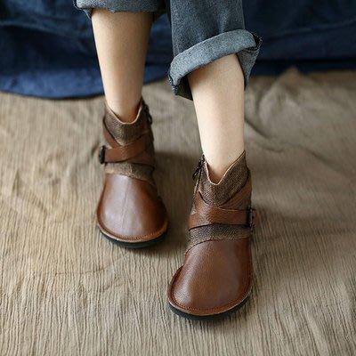 *菇涼家*優雅 復古文藝编织拼接丑萌圆頭真皮软底舒適女平底短鞋